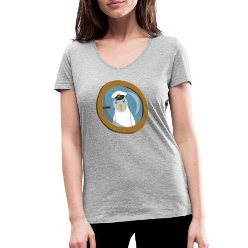 Freche Möwe mit Kapitänsmütze schaut aus Bullauge - Frauen Bio-T-Shirt mit V-Ausschnitt von Stanley & Stella