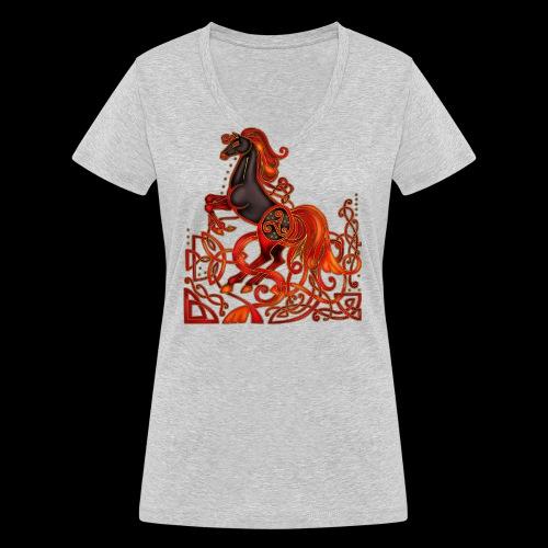 Celtic Horse Night Mare - Women's Organic V-Neck T-Shirt by Stanley & Stella