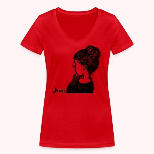 FALL BUN HAIR - 🍂COLLEZIONE AUTUNNALE by DEBBY🍁 - T-shirt ecologica da donna con scollo a V di Stanley & Stella