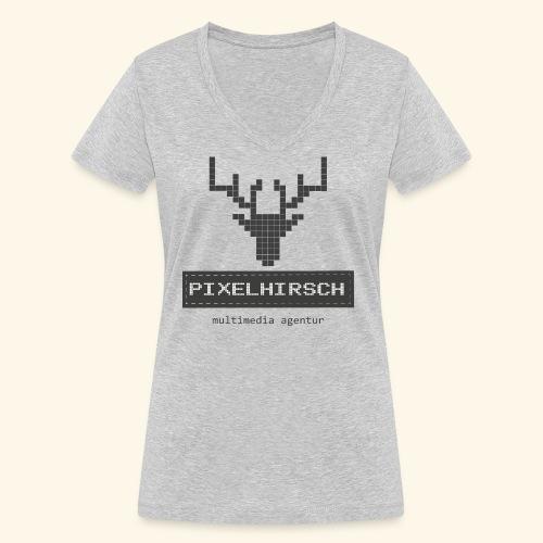 PIXELHIRSCH - grau - Frauen Bio-T-Shirt mit V-Ausschnitt von Stanley & Stella