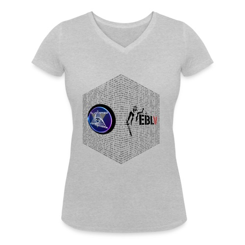 disen o dos canales cubo binario logos delante - Women's Organic V-Neck T-Shirt by Stanley & Stella