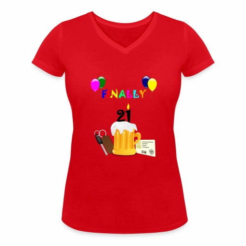 Finally 21 (2) - Women's Organic V-Neck T-Shirt by Stanley & Stella