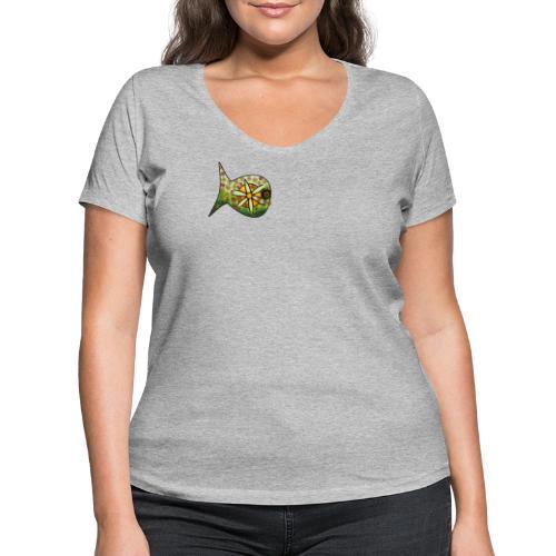 Blüten Fischdesign - Frauen Bio-T-Shirt mit V-Ausschnitt von Stanley & Stella