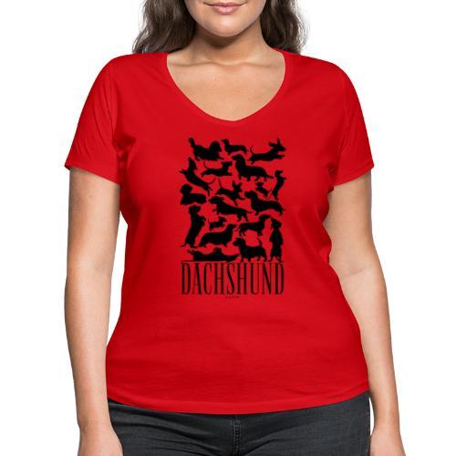 Dachshund Black - Stanley & Stellan naisten v-aukkoinen luomu-T-paita