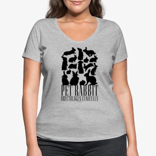 Pet Rabbit Black - Stanley & Stellan naisten v-aukkoinen luomu-T-paita
