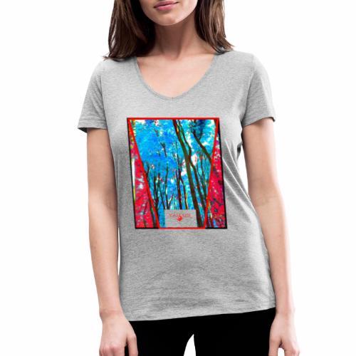 Natur Wald Forest Bäume - Frauen Bio-T-Shirt mit V-Ausschnitt von Stanley & Stella