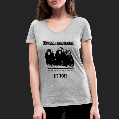 Three wise monkeys - T-shirt bio col V Stanley & Stella Femme