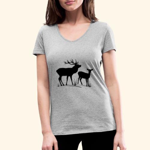 Hirsch, Reh, Rotwild, Damwild, Wald, Tiere, Rehe - Frauen Bio-T-Shirt mit V-Ausschnitt von Stanley & Stella
