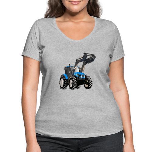 Blauer Traktor mit Frontlader - Frauen Bio-T-Shirt mit V-Ausschnitt von Stanley & Stella