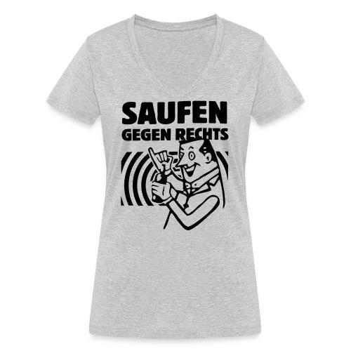 Saufen gegen Rechts - Frauen Bio-T-Shirt mit V-Ausschnitt von Stanley & Stella