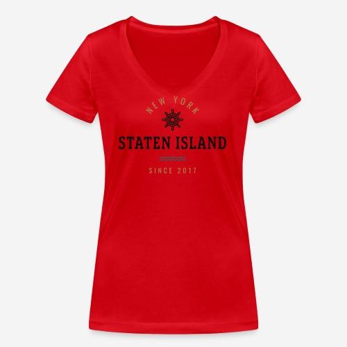 NWE YORK - STATEN ISLAND - T-shirt ecologica da donna con scollo a V di Stanley & Stella