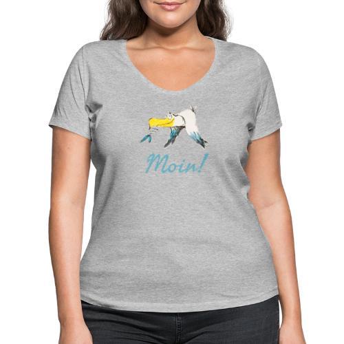 Lustige Moin Möwe von Volker Ernsting - Frauen Bio-T-Shirt mit V-Ausschnitt von Stanley & Stella