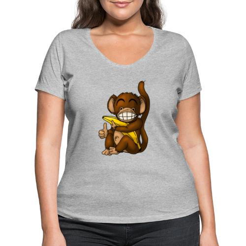 Super Fröhlicher Affe - Frauen Bio-T-Shirt mit V-Ausschnitt von Stanley & Stella