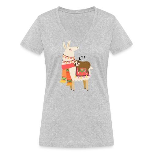 Funny Sloth Quotes - Frauen Bio-T-Shirt mit V-Ausschnitt von Stanley & Stella