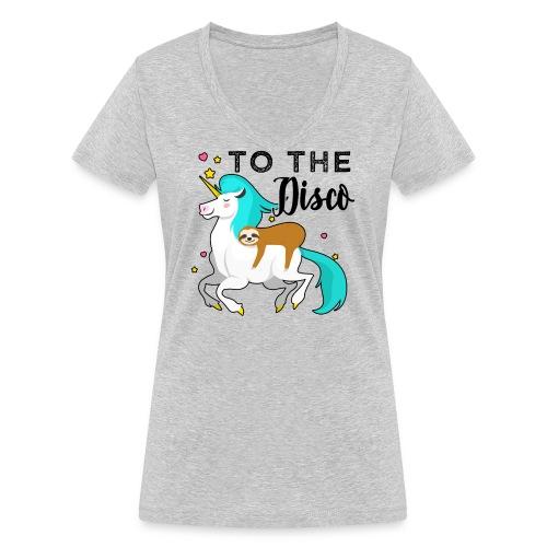 Funny Sloth Riding Unicorn - Frauen Bio-T-Shirt mit V-Ausschnitt von Stanley & Stella