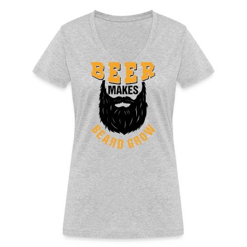 Beer Makes Beard Grow Funny Gift - Frauen Bio-T-Shirt mit V-Ausschnitt von Stanley & Stella
