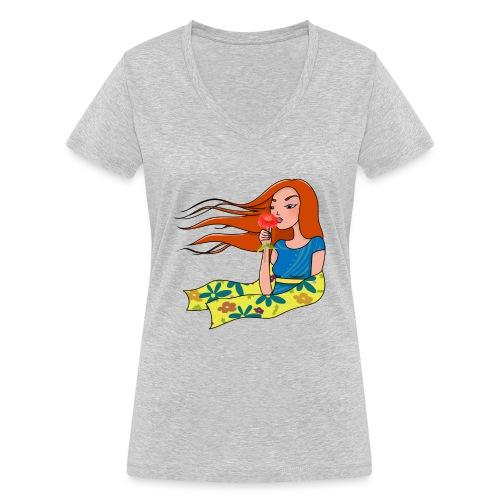 La femme et la fleur - T-shirt bio col V Stanley & Stella Femme