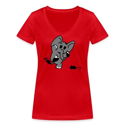 Elefant + Maus - colored - Frauen Bio-T-Shirt mit V-Ausschnitt von Stanley & Stella
