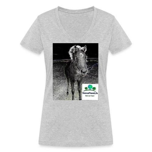 RescuePlanetLife Pferd-Design - Frauen Bio-T-Shirt mit V-Ausschnitt von Stanley & Stella