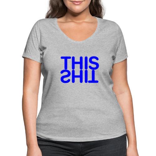 THIS Blue - Camiseta ecológica mujer con cuello de pico de Stanley & Stella