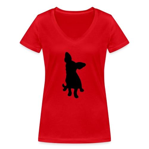 Chihuahua istuva musta - Stanley & Stellan naisten v-aukkoinen luomu-T-paita