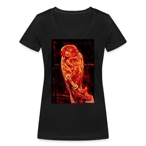 Bird in flames - Stanley & Stellan naisten v-aukkoinen luomu-T-paita