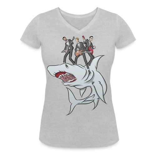 Shark Attack - Women's Organic V-Neck T-Shirt by Stanley & Stella