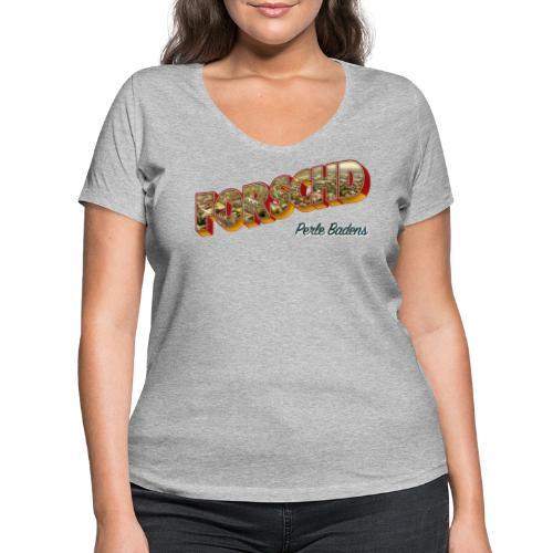 Forschd - Perle Badens - Vintage-Logo mit Luftbild - Frauen Bio-T-Shirt mit V-Ausschnitt von Stanley & Stella