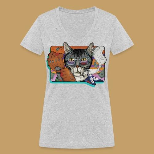 Crime Cat - Ekologiczna koszulka damska z dekoltem w serek Stanley & Stella