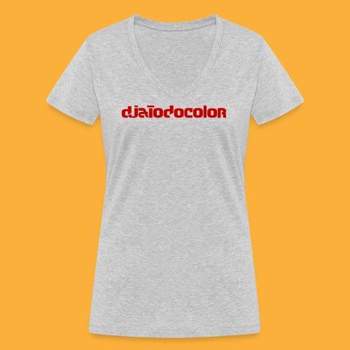 DJATODOCOLOR LOGO ROJO - Camiseta ecológica mujer con cuello de pico de Stanley & Stella