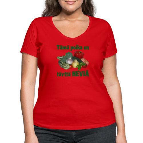 Poika täyttä heviä - Stanley & Stellan naisten v-aukkoinen luomu-T-paita