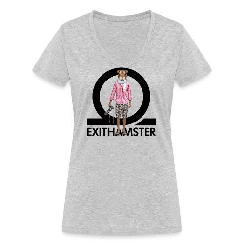 EXITHAMSTER LOGO WHITE BG - Women's Organic V-Neck T-Shirt by Stanley & Stella