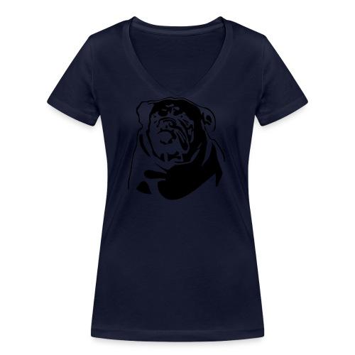 English Bulldog - negative - Stanley & Stellan naisten v-aukkoinen luomu-T-paita