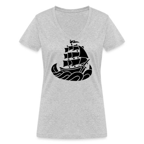 Segelschiff Dreimaster Tattoo Oldschool Sailboot - Frauen Bio-T-Shirt mit V-Ausschnitt von Stanley & Stella