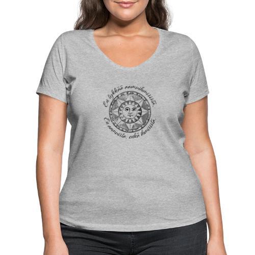 En tykkää aamuihmisistä en aamuista enkä ihmisistä - Stanley & Stellan naisten v-aukkoinen luomu-T-paita