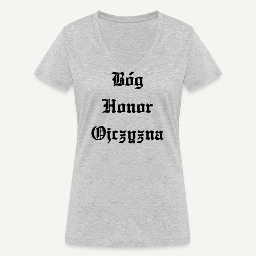 Bóg Honor Ojczyzna - Ekologiczna koszulka damska z dekoltem w serek Stanley & Stella