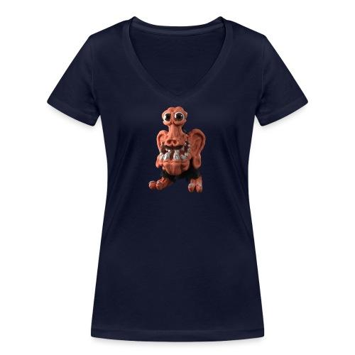Very positive monster - Women's Organic V-Neck T-Shirt by Stanley & Stella