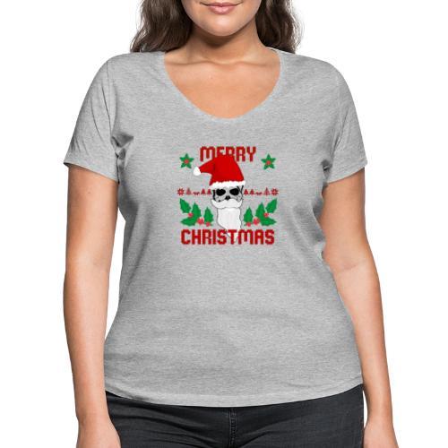 Merry Christmas Skull - Frauen Bio-T-Shirt mit V-Ausschnitt von Stanley & Stella