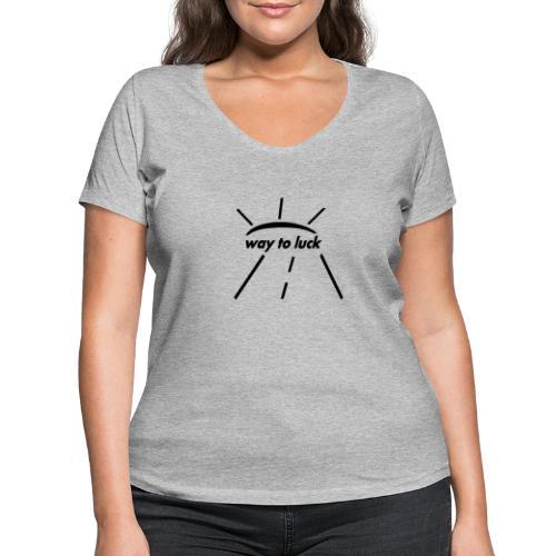 way to luck logo schwarz - Frauen Bio-T-Shirt mit V-Ausschnitt von Stanley & Stella