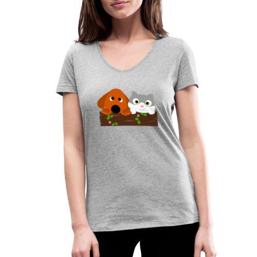 Hund & Katz - Frauen Bio-T-Shirt mit V-Ausschnitt von Stanley & Stella