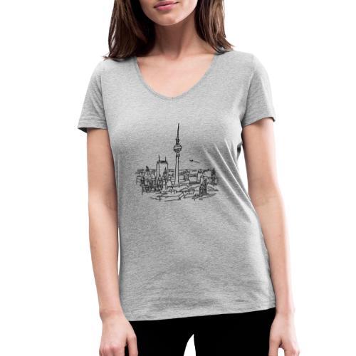 Berlin Panorama - Ekologiczna koszulka damska z dekoltem w serek Stanley & Stella