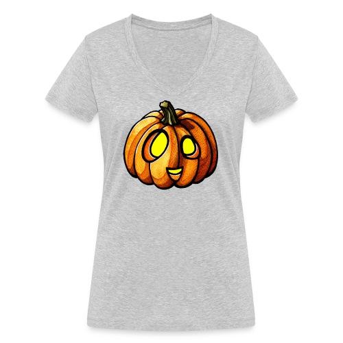 Pumpkin Halloween watercolor scribblesirii - Frauen Bio-T-Shirt mit V-Ausschnitt von Stanley & Stella