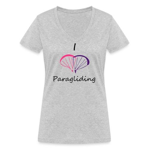I Love Paragliding V2 - Women's Organic V-Neck T-Shirt by Stanley & Stella