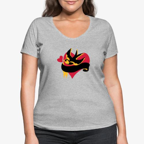 retro tattoo bird with heart - Women's Organic V-Neck T-Shirt by Stanley & Stella