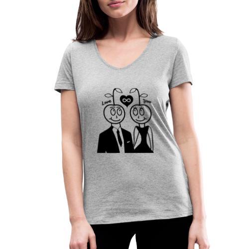 Happy Kirsche Schwarz - Frauen Bio-T-Shirt mit V-Ausschnitt von Stanley & Stella