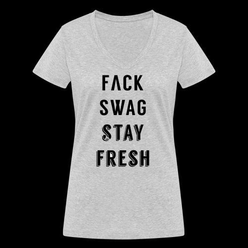 Fack Swag Tee - Camiseta ecológica mujer con cuello de pico de Stanley & Stella