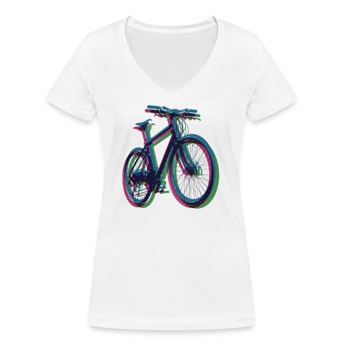 Bike Fahrrad bicycle Outdoor Fun Mountainbike - Women's Organic V-Neck T-Shirt by Stanley & Stella
