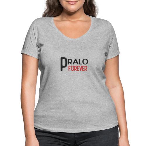 pralo forever noir et rouge - T-shirt bio col V Stanley & Stella Femme