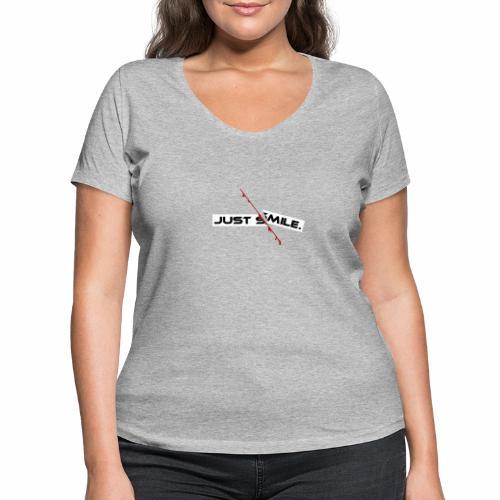 JUST SMILE Design mit blutigem Schnitt, Depression - Frauen Bio-T-Shirt mit V-Ausschnitt von Stanley & Stella