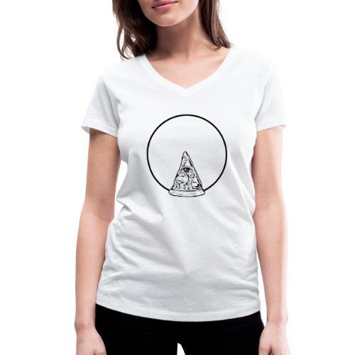 All sehendes Auge Pizza (schwarzer Druck) - Frauen Bio-T-Shirt mit V-Ausschnitt von Stanley & Stella